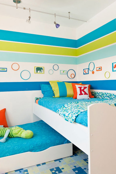 儿童房色调秉持着配合孩子活泼可爱的性格,激发孩子无限的想象力