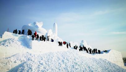 """""""净月雪世界"""" 主雪雕初露芳容"""