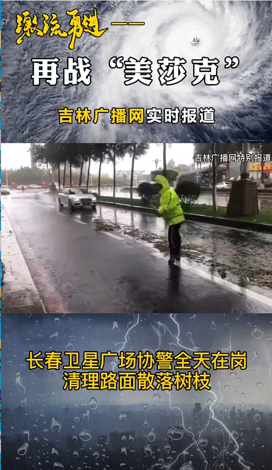 长春市卫星广场协警全天在岗 清理路面散落树枝